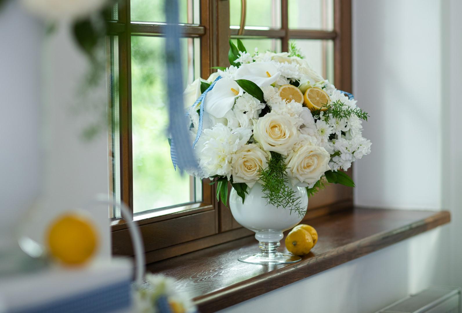 róża rose Avalanche+ chryzantema chrysanthemum Pina Colada ślub wedding